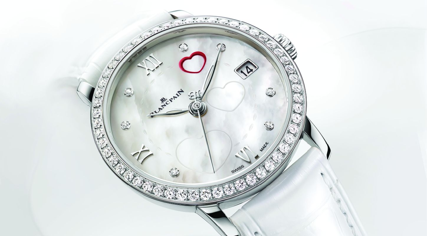 White MOP Dial Diamonds Bezel Blancpain Saint Valentin 2014 Watch Ref. 6604-4654-55B