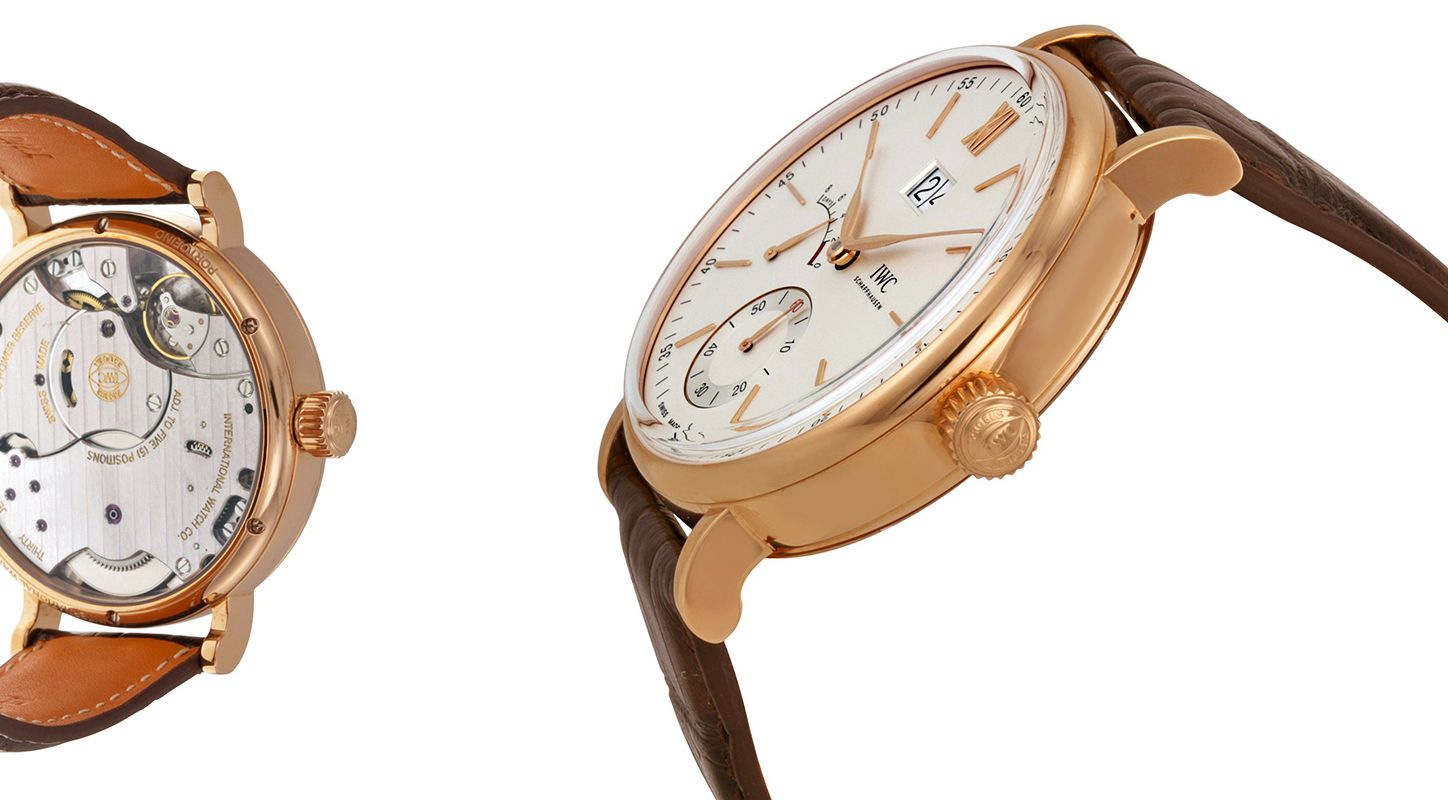 Rose Gold IWC Portofino Hand-Wound Big Date Replica Watch in Cheap Price