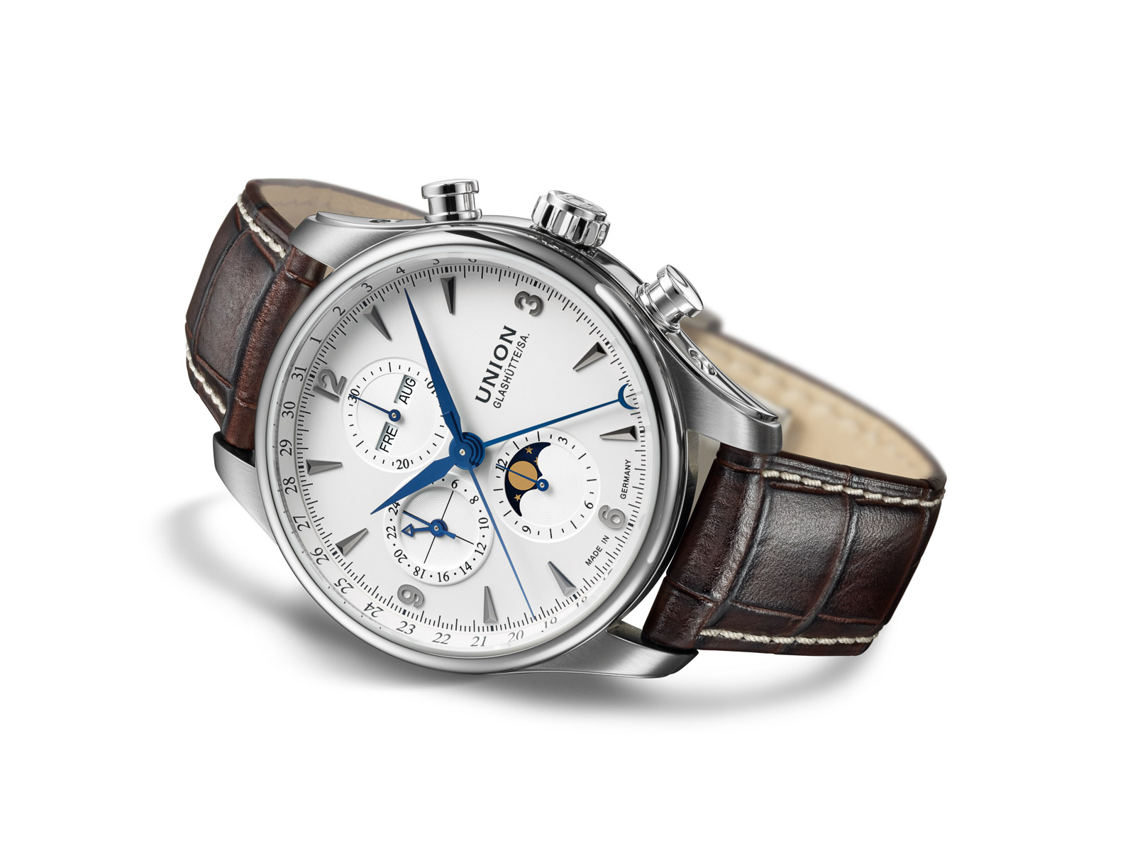 Glashütte MoonPhase Chronograph Steel Case Leather Strap Watch